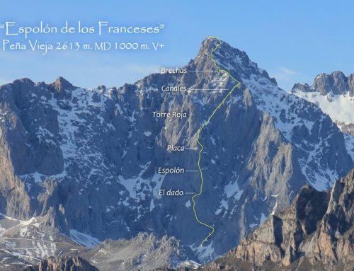 Espolón de los Franceses a Peña Vieja 2613 m. MD, 1000 m. V+