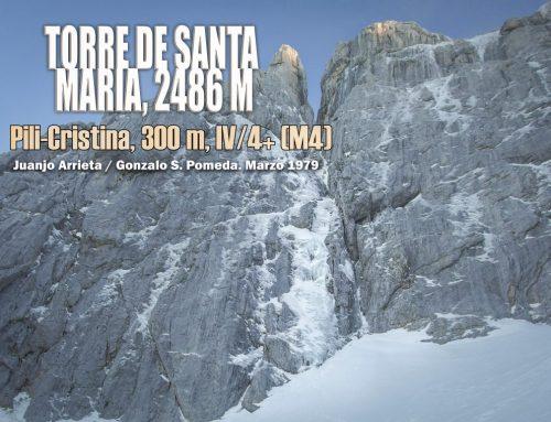 Torre de Santa María, 2486 m. Pili Cristina, 300 m. IV/4+ (M4)