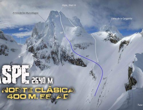 Aspe, norte clásica. Corredor Norte-Noreste, 400 m. 55º, AD